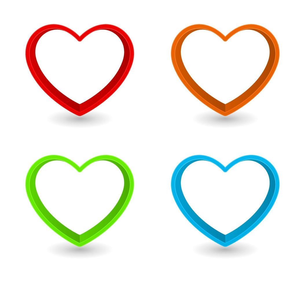 conjunto de moldura em forma de coração vetor