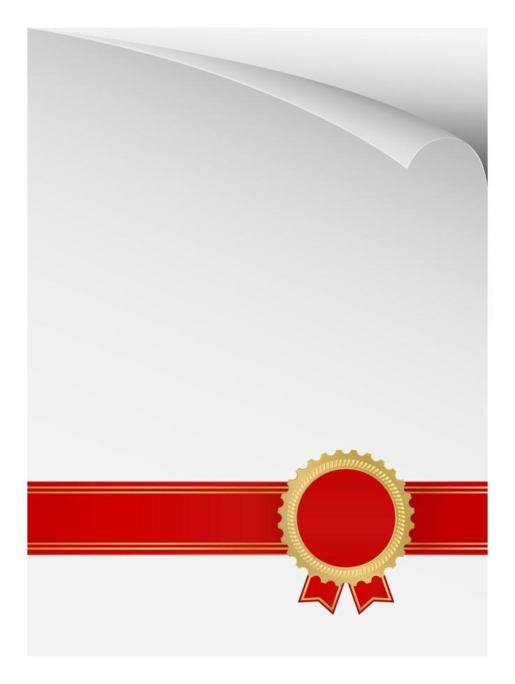 página de papel enrolada com crachá de prêmio vetor