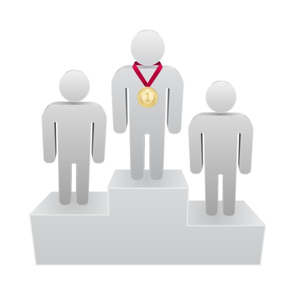 primeiro lugar pódio com ícone 3d de pessoa vencedora vetor