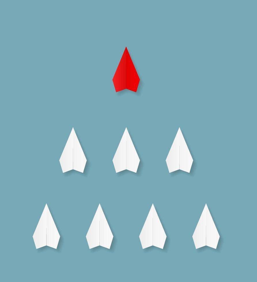 ícone do trabalho em equipe de liderança de avião de papel vetor