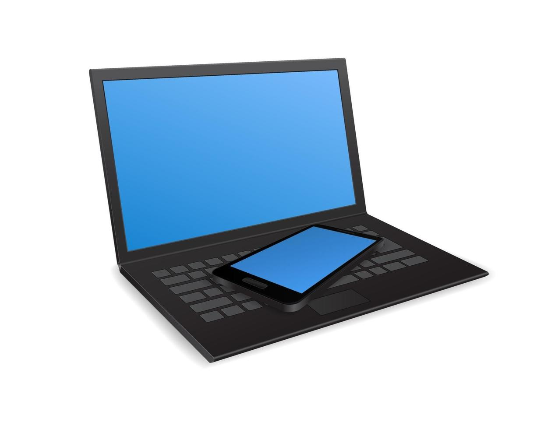 laptop com smartphone vetor