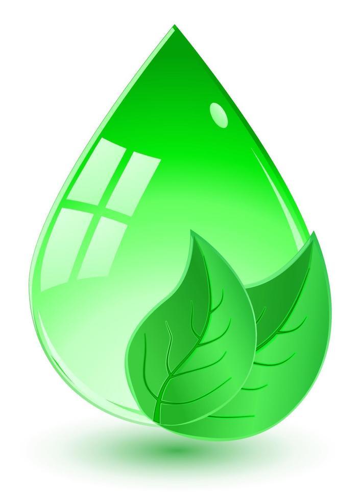 cair com folhas verdes vetor