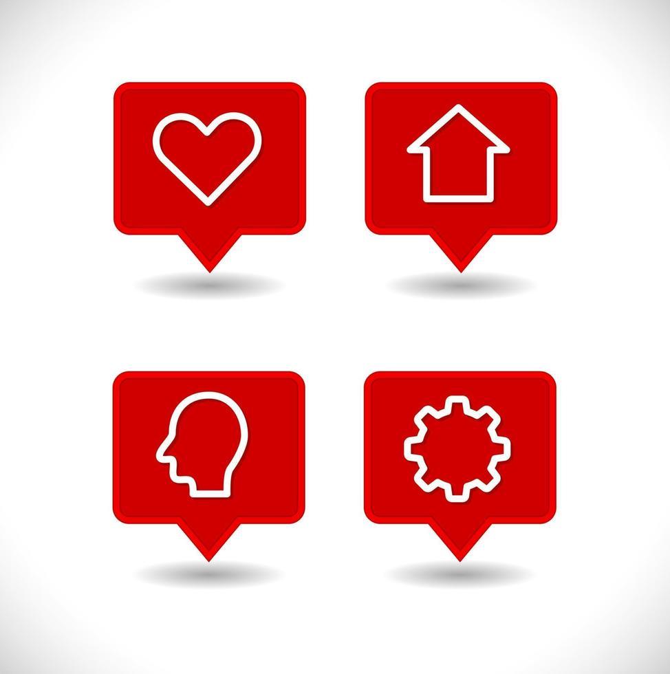 pino de ponteiro de mapa com conjunto de ícones de coração, casa, engrenagem e cabeça humana vetor