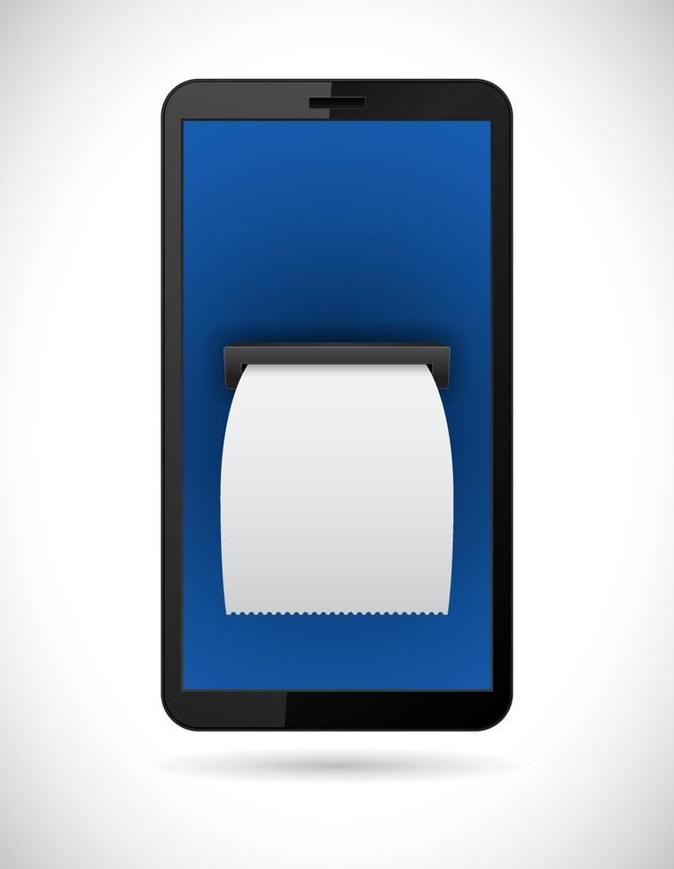 smartphone com cheque de contas vetor