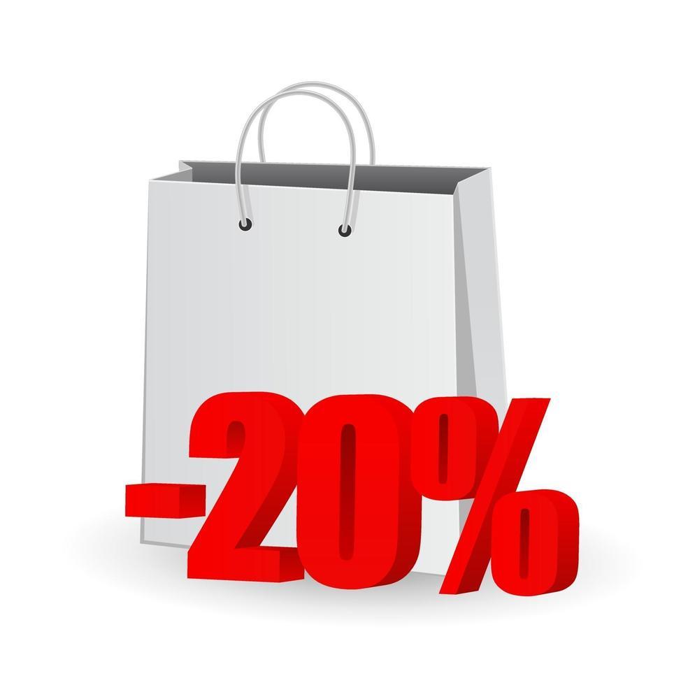 sacola de compras com ícone 3d do conceito de símbolo de porcentagem vetor