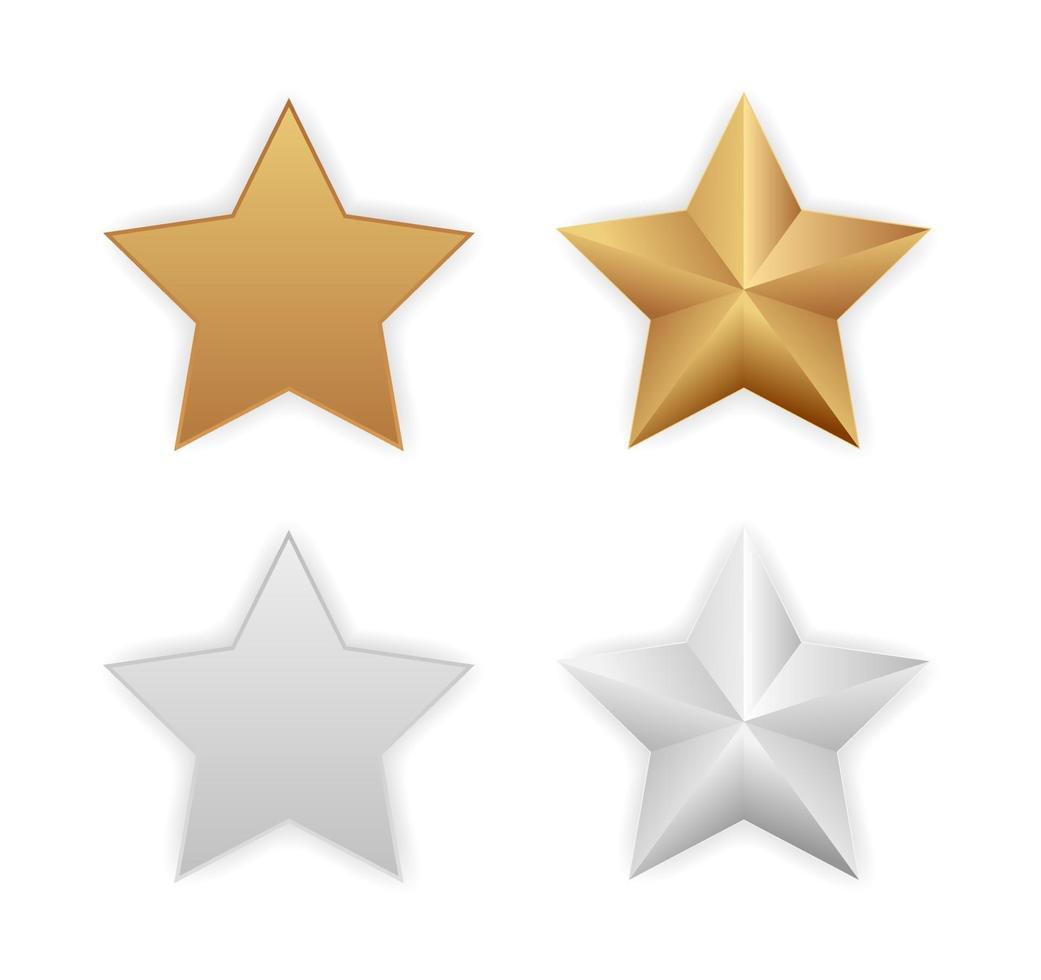 estrelas metálicas de ouro e prata vetor