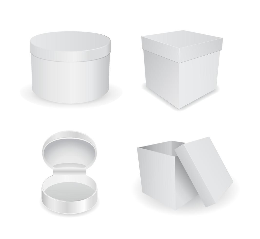 conjunto de ícones 3d de caixa branca vetor