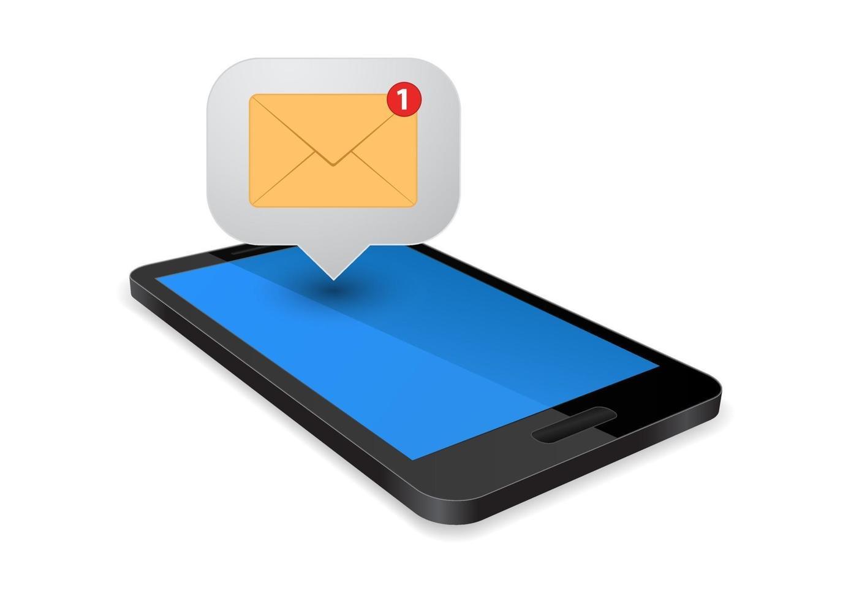 smartphone com sms vetor