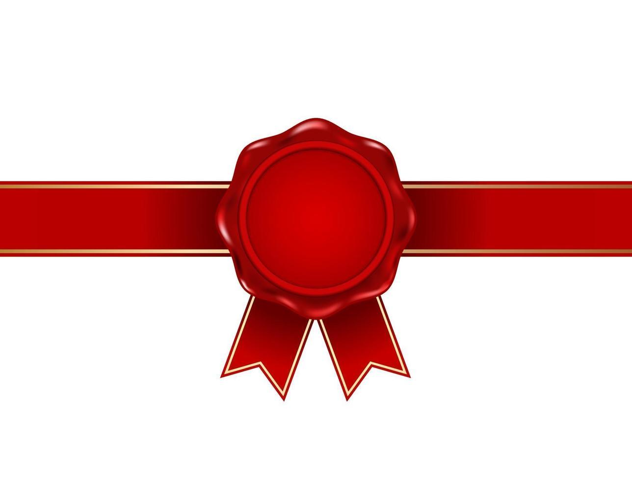 Selo de selo de cera vermelha com ícone de fita 3d vetor
