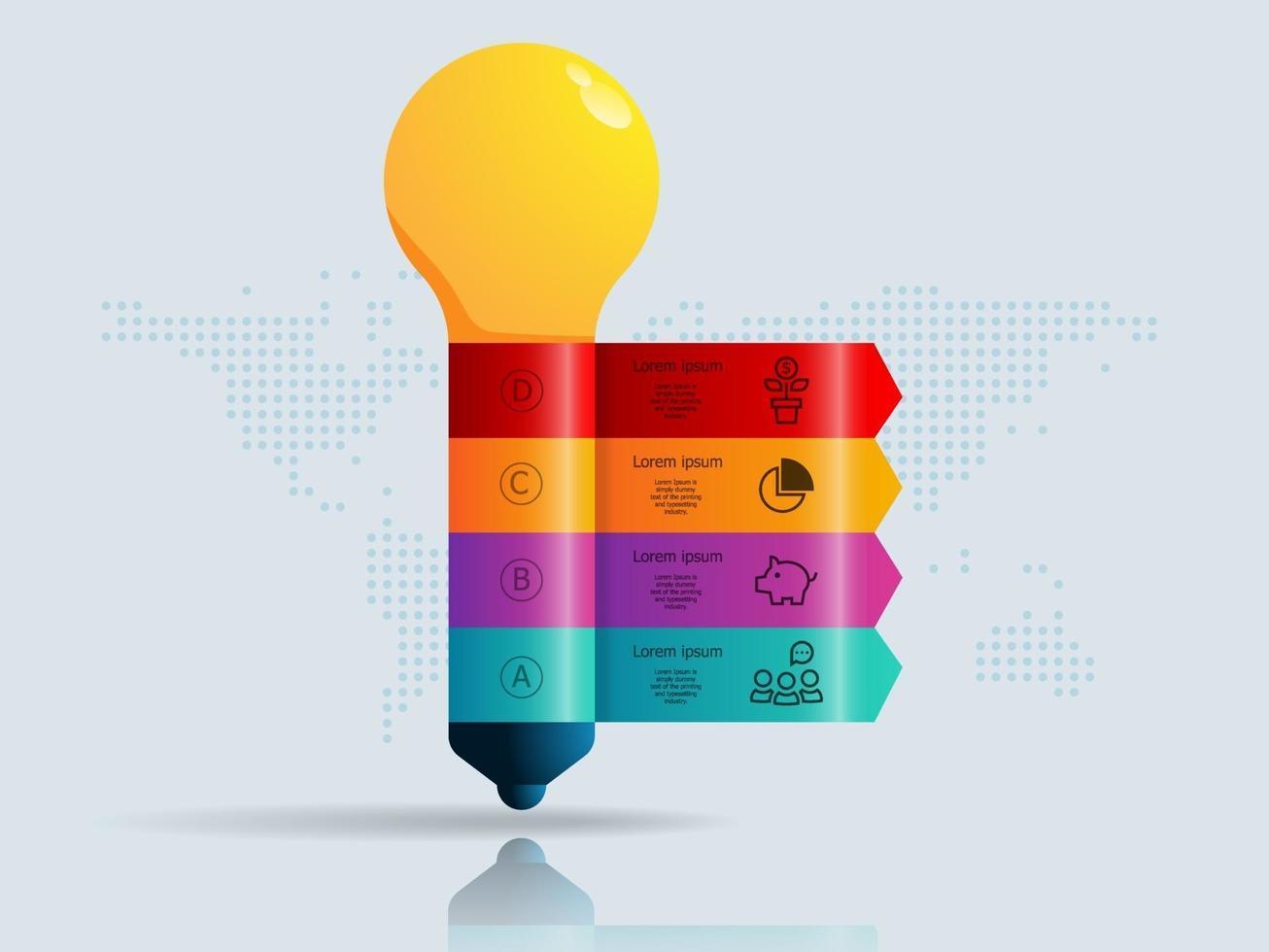 infográficos abstratos de lâmpada, 4 etapas com mapa mundial para negócios e apresentação vetor