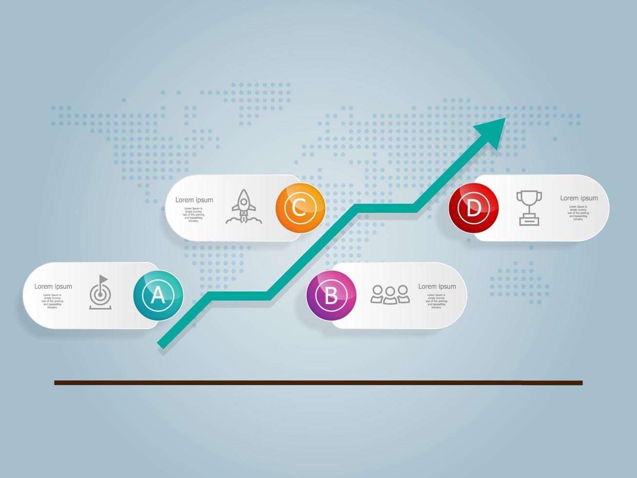 infográficos de gráfico de crescimento horizontal abstrato, 4 etapas com modelo de ícone para negócios e apresentação vetor