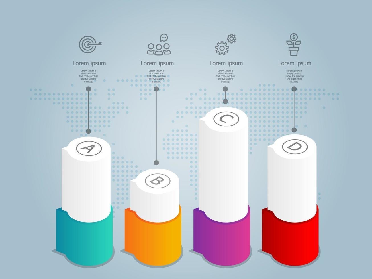 infográficos abstratos de linha do tempo horizontal, 4 etapas com modelo de ícone para negócios e apresentação vetor