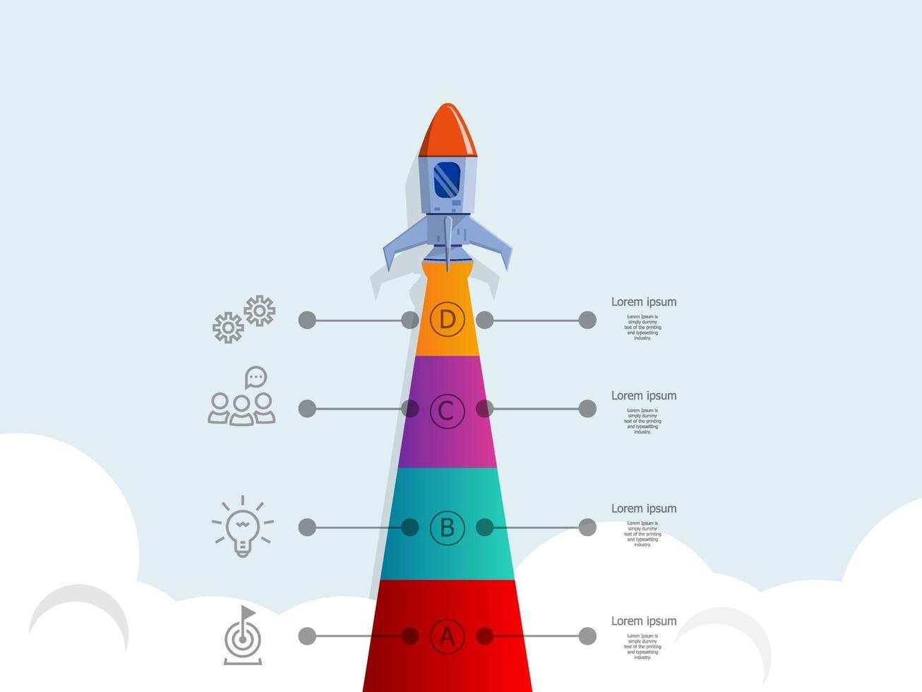 elementos infográficos de inicialização de negócios de lançamento de foguete vetor