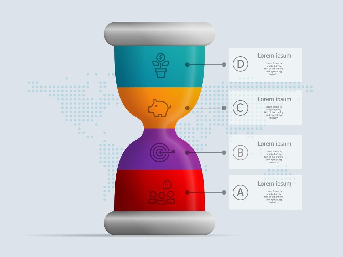 ampulheta, ampulheta infográficos 4 etapas para apresentação de negócios vetor