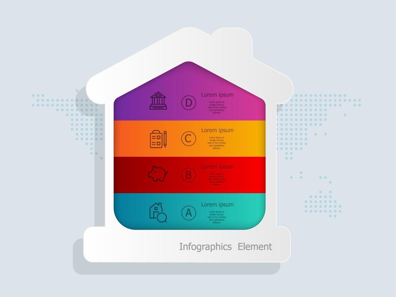 Modelo de elementos de infográficos de finanças domésticas para negócios e apresentação vetor
