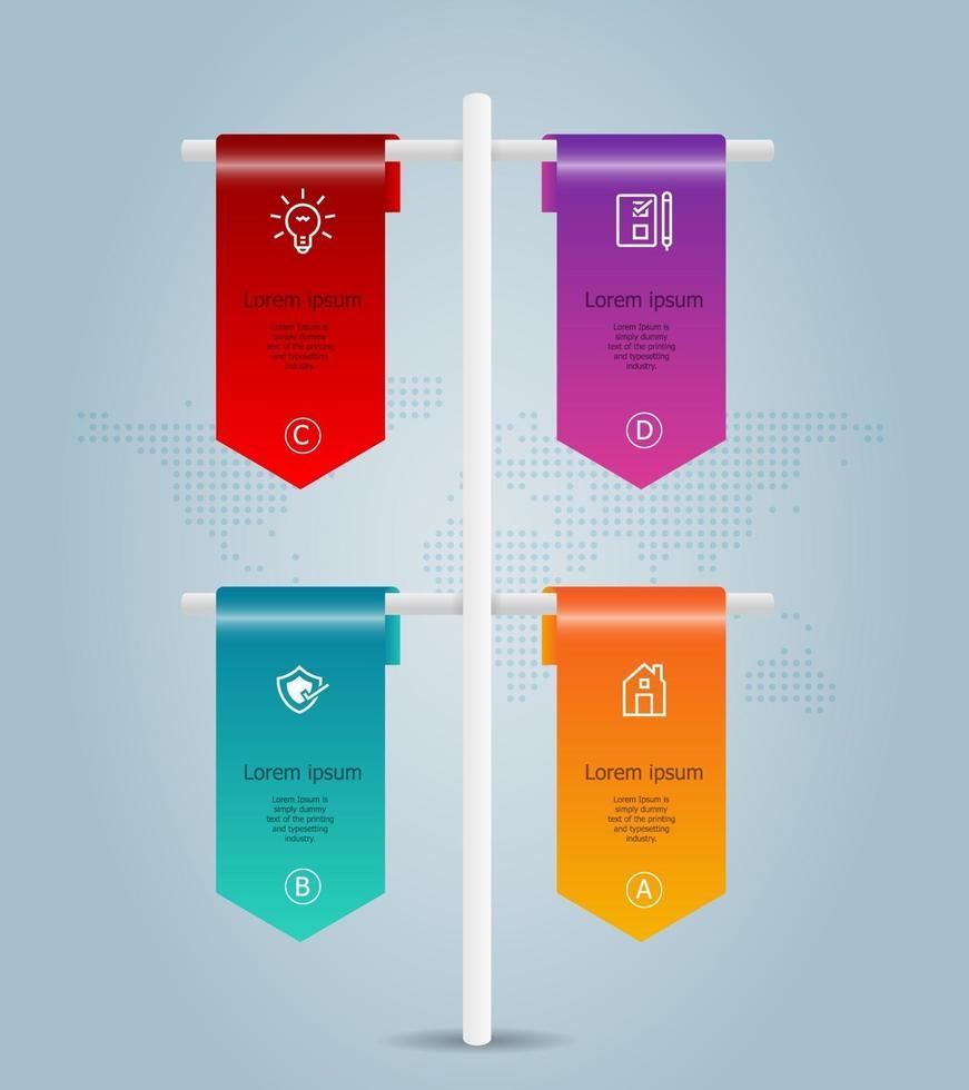 infográficos abstratos de linha do tempo com bandeira vertical, 4 etapas com modelo de mapa mundial para negócios e apresentação vetor