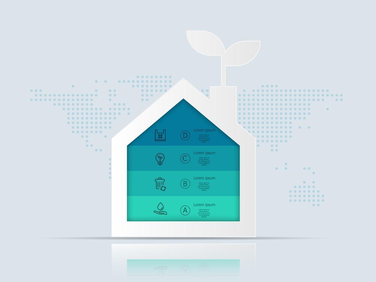 casa verde, infográficos ecológicos vetor