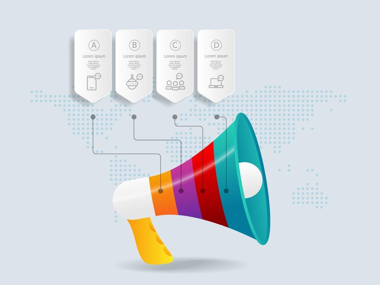 megafone, infográficos de megafone, 4 etapas para apresentação de negócios vetor