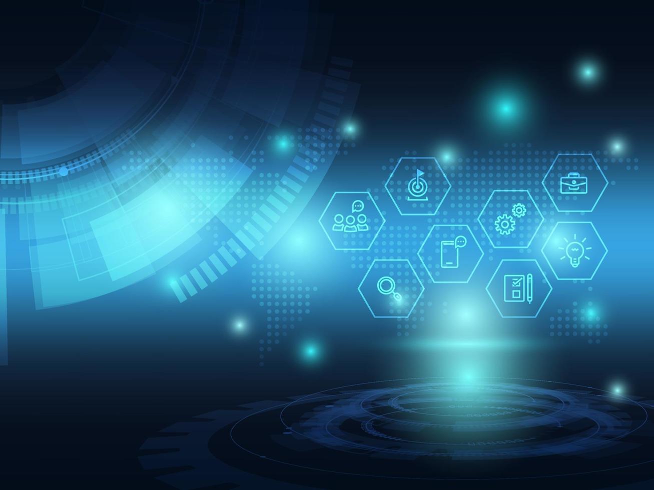 fundo de tecnologia futurista azul abstrato com ícone de negócios vetor