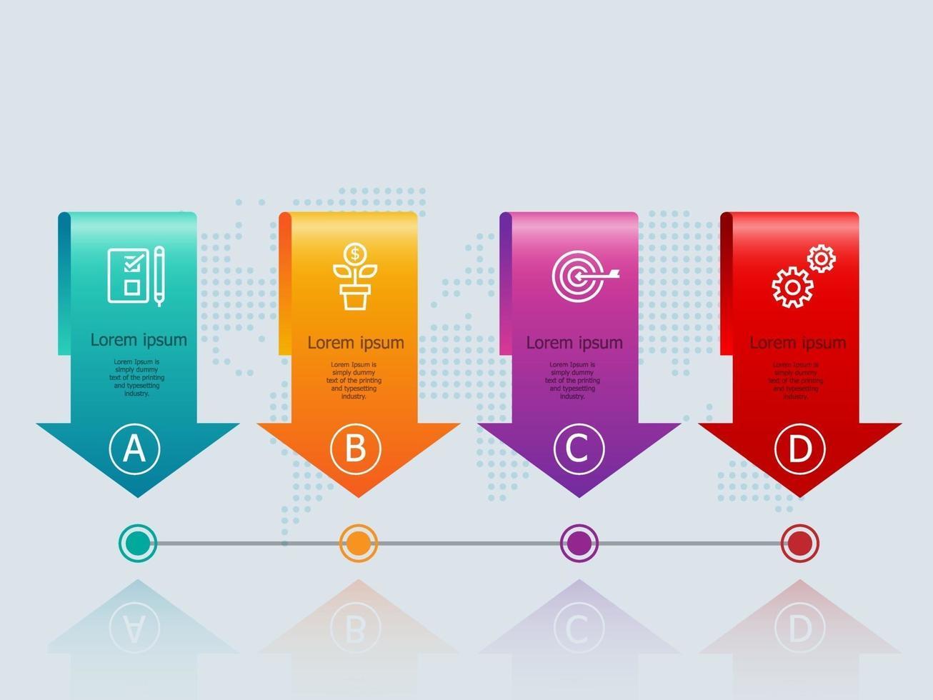 infográficos abstratos de banner de seta horizontal com ícones de negócios vetor