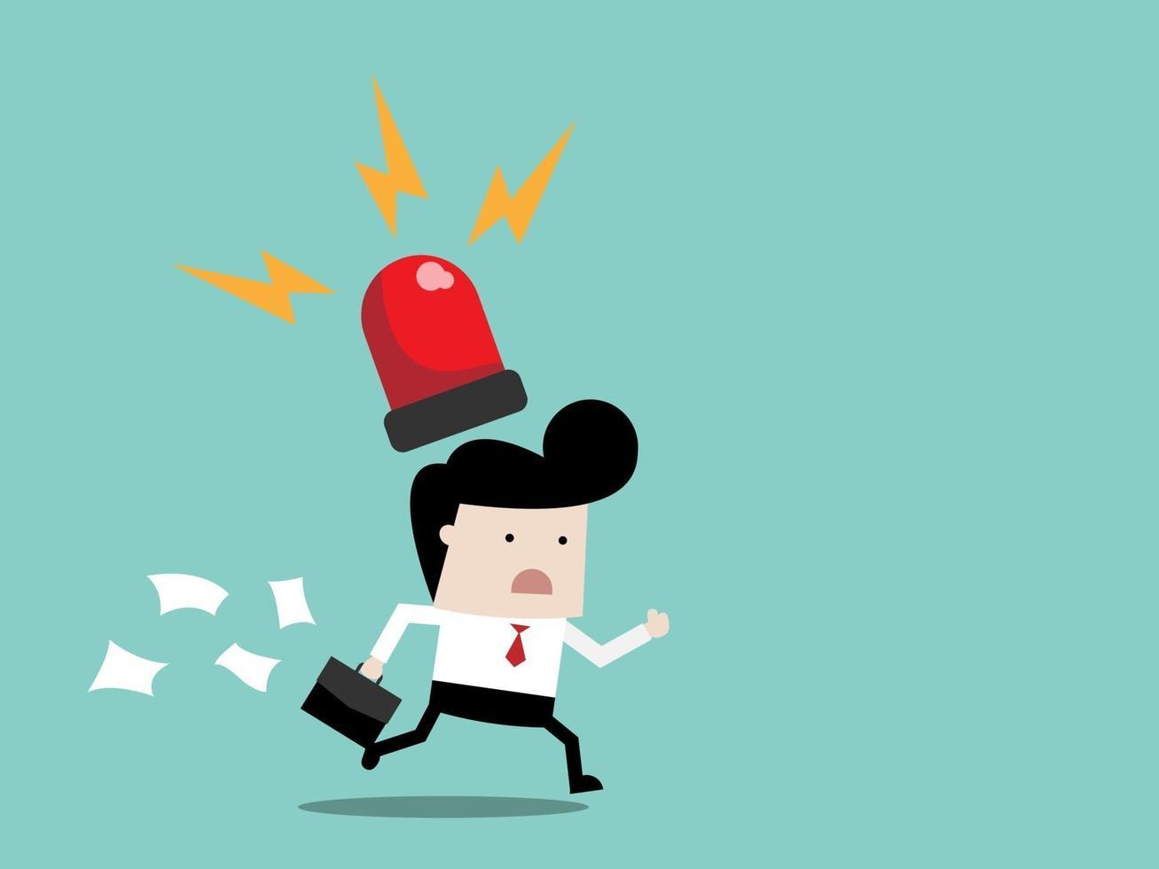 empresário correndo com a sirene na cabeça vetor