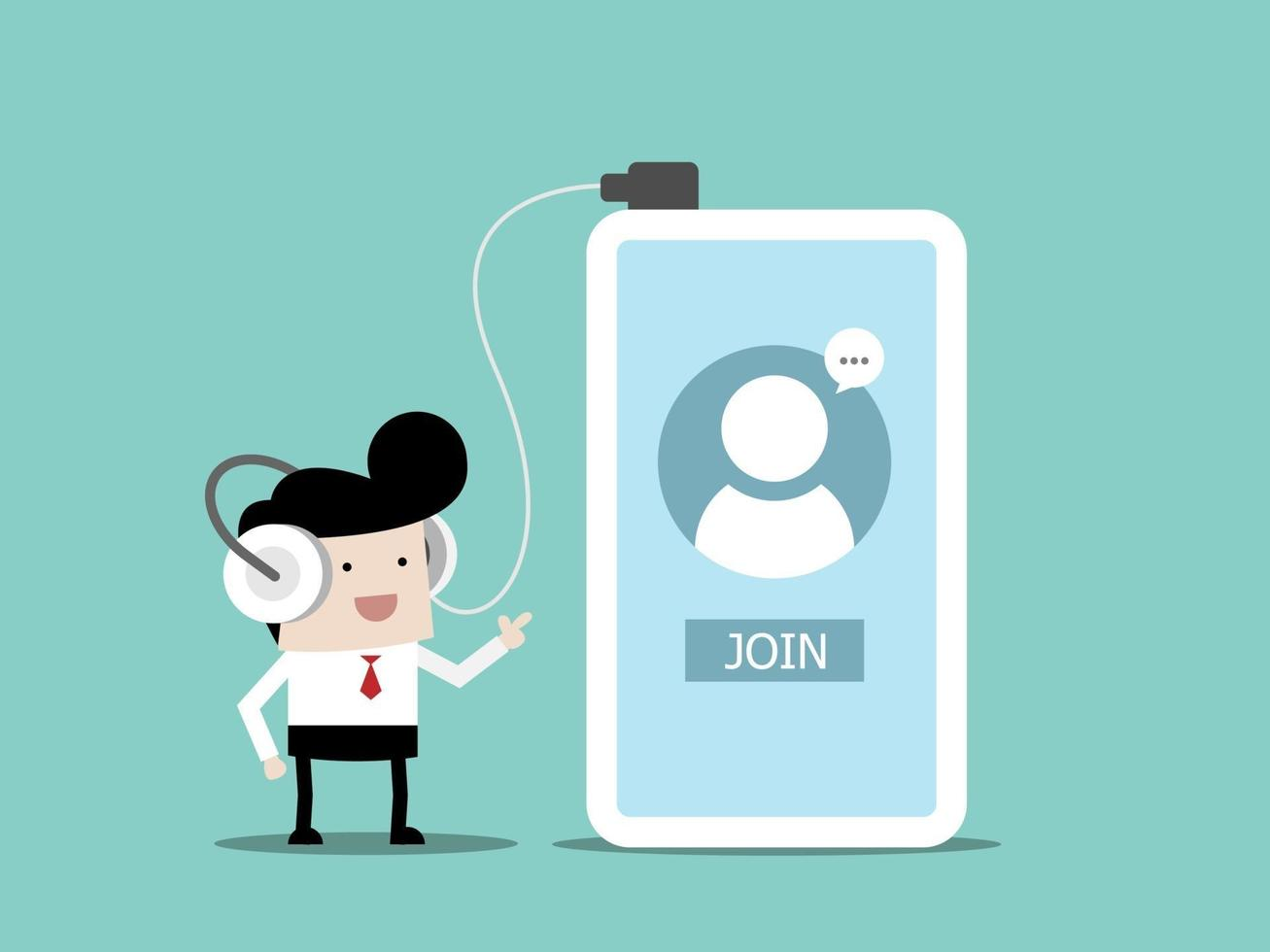 empresário usando fones de ouvido entra na sala de bate-papo para ouvir ou reunião on-line vetor