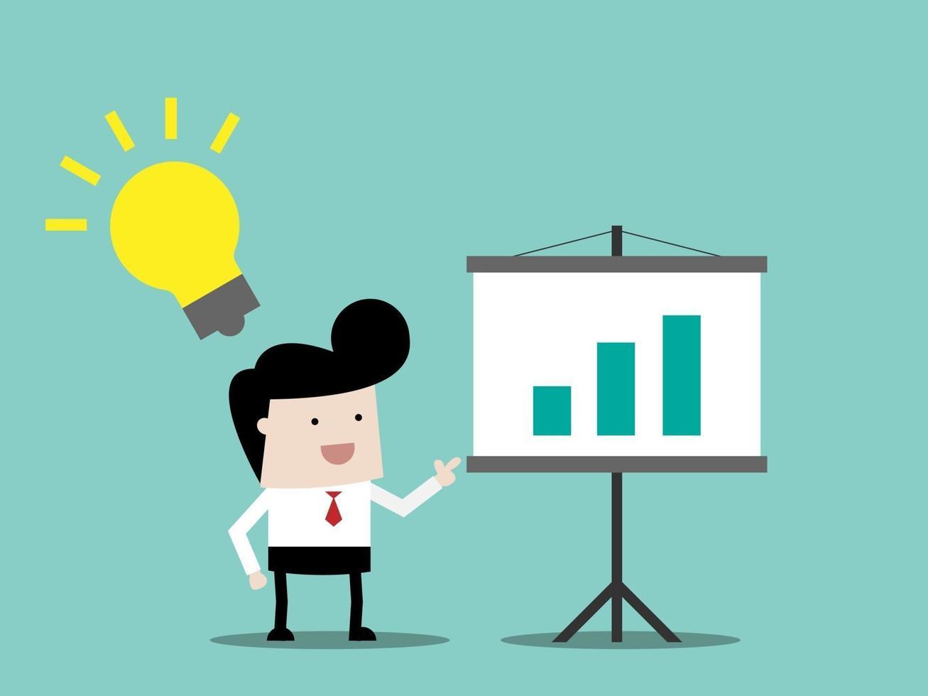 empresário com ideia de conceito de negócio de apresentação vetor
