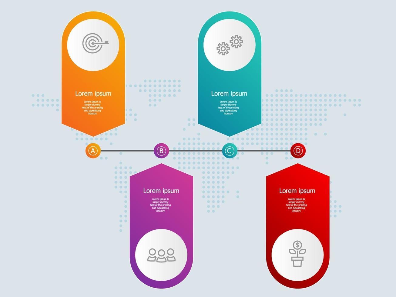 infográficos abstratos de linha do tempo de banner horizontal com ícones de negócios vetor