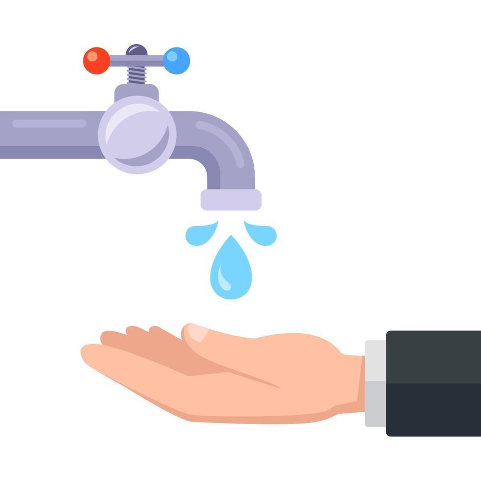lave as mãos com água da torneira. ilustração vetorial plana. vetor