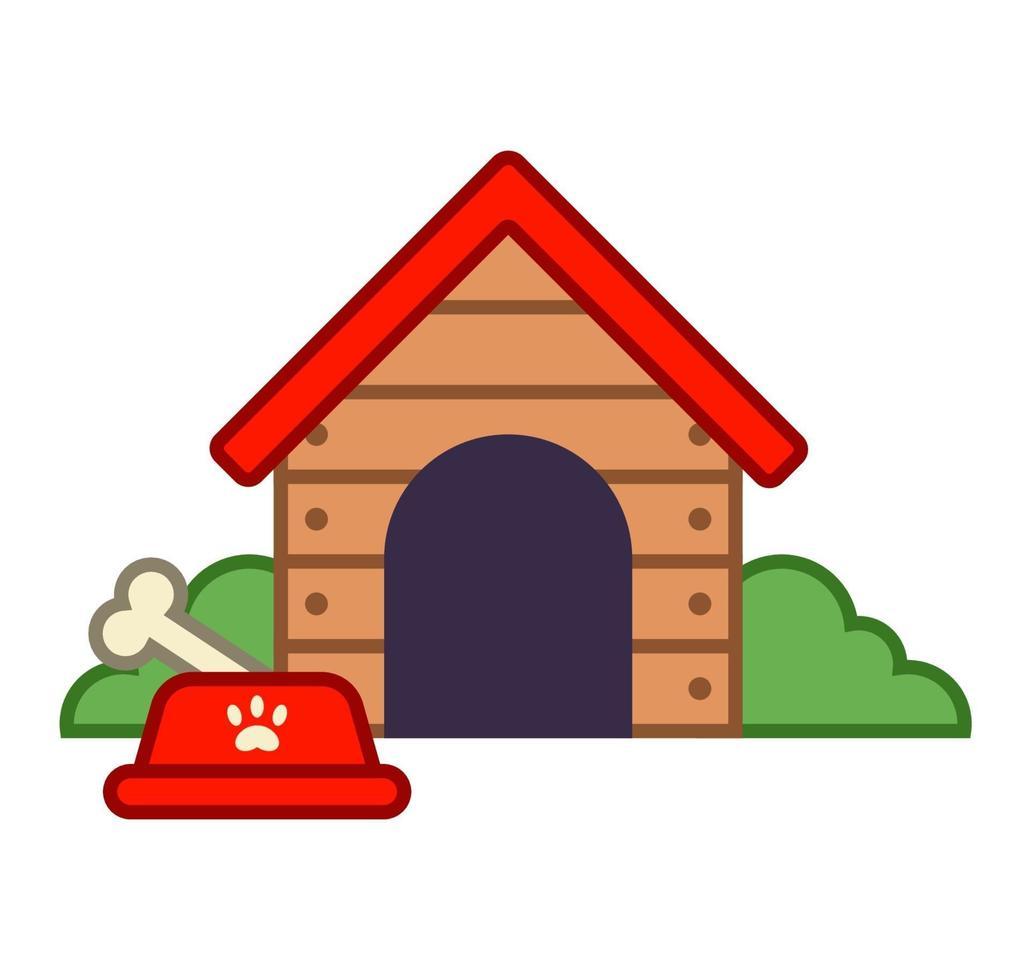 casinha de cachorro de madeira na aldeia. ilustração vetorial plana. vetor