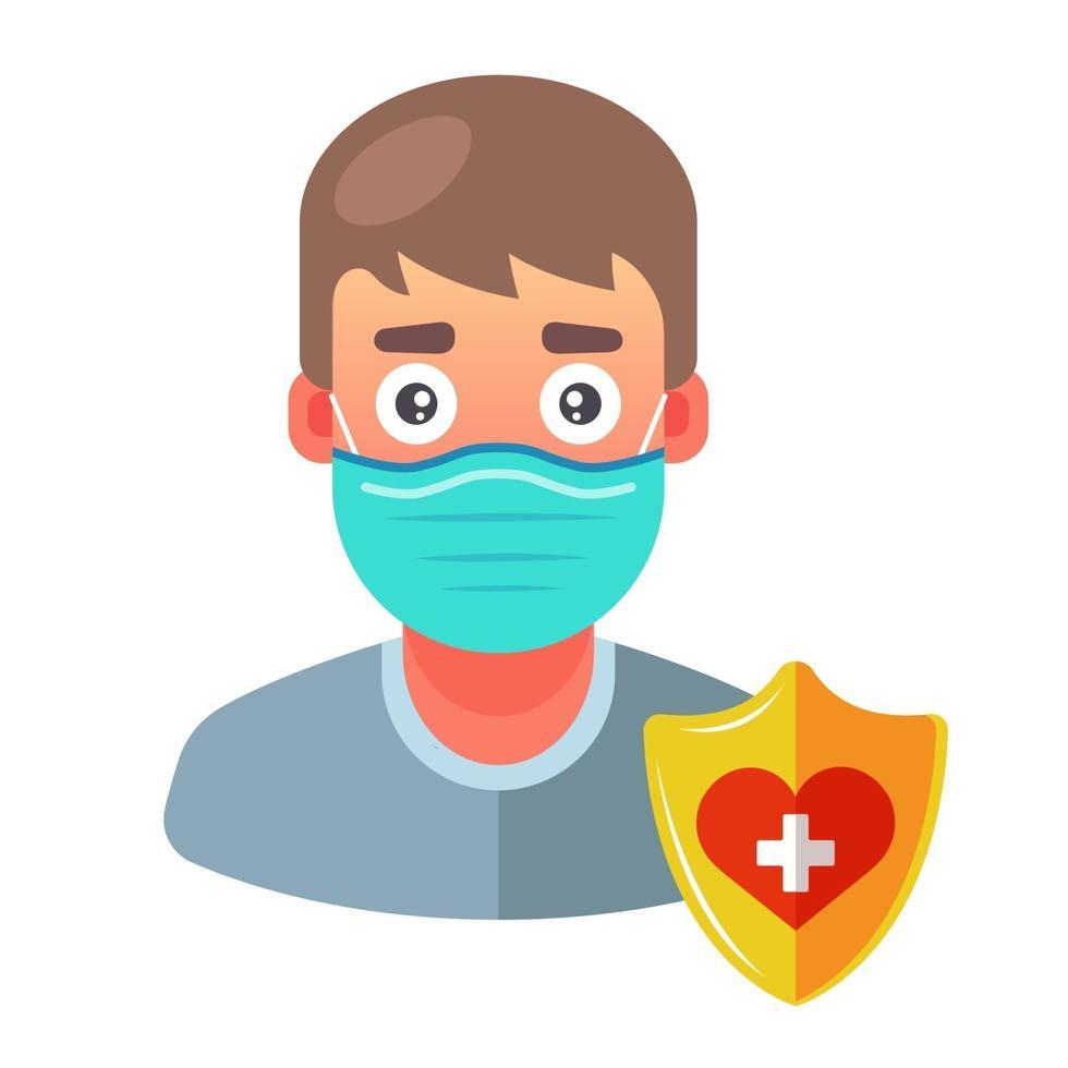 um homem com máscara médica se protege de doenças. ilustração em vetor personagem plana.