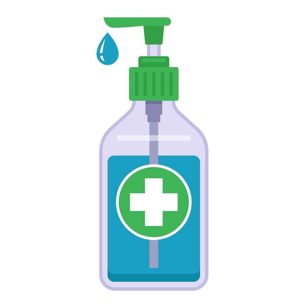 anti-séptico médico em uma garrafa de plástico. desinfecção das mãos. ilustração vetorial plana. vetor