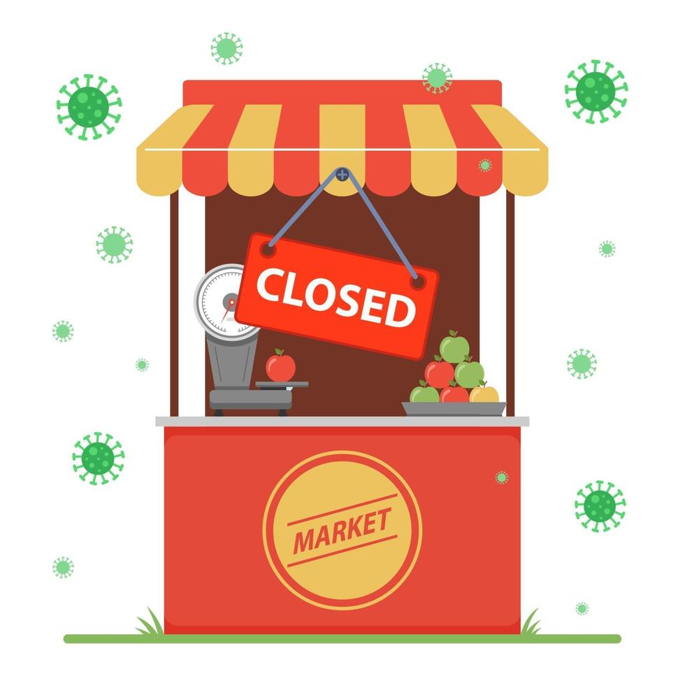 fechamento de uma pequena empresa devido à pandemia do coronavírus. ilustração vetorial plana. vetor
