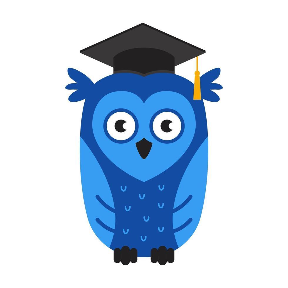 coruja inteligente azul com um chapéu. símbolo do conhecimento e da graduação universitária. ilustração de personagem plana vector. vetor