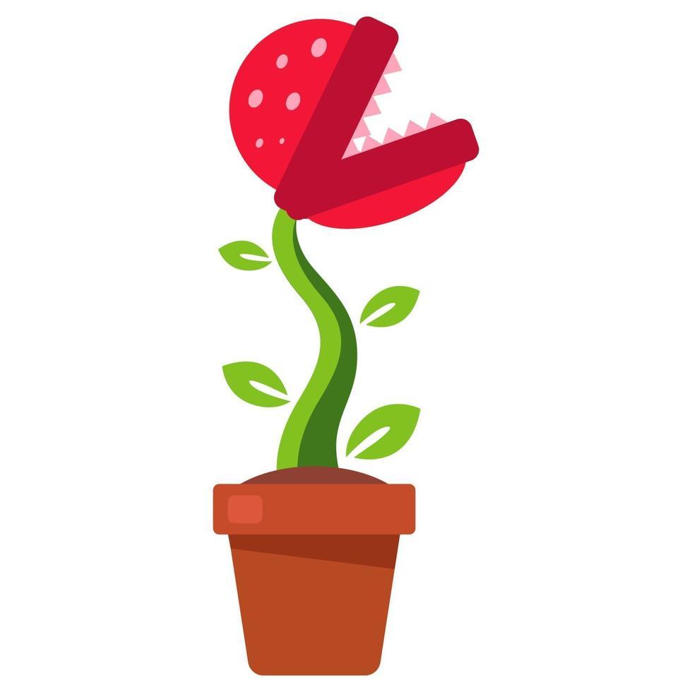 planta com dentes crescendo em um vaso de flores. ilustração vetorial plana. vetor