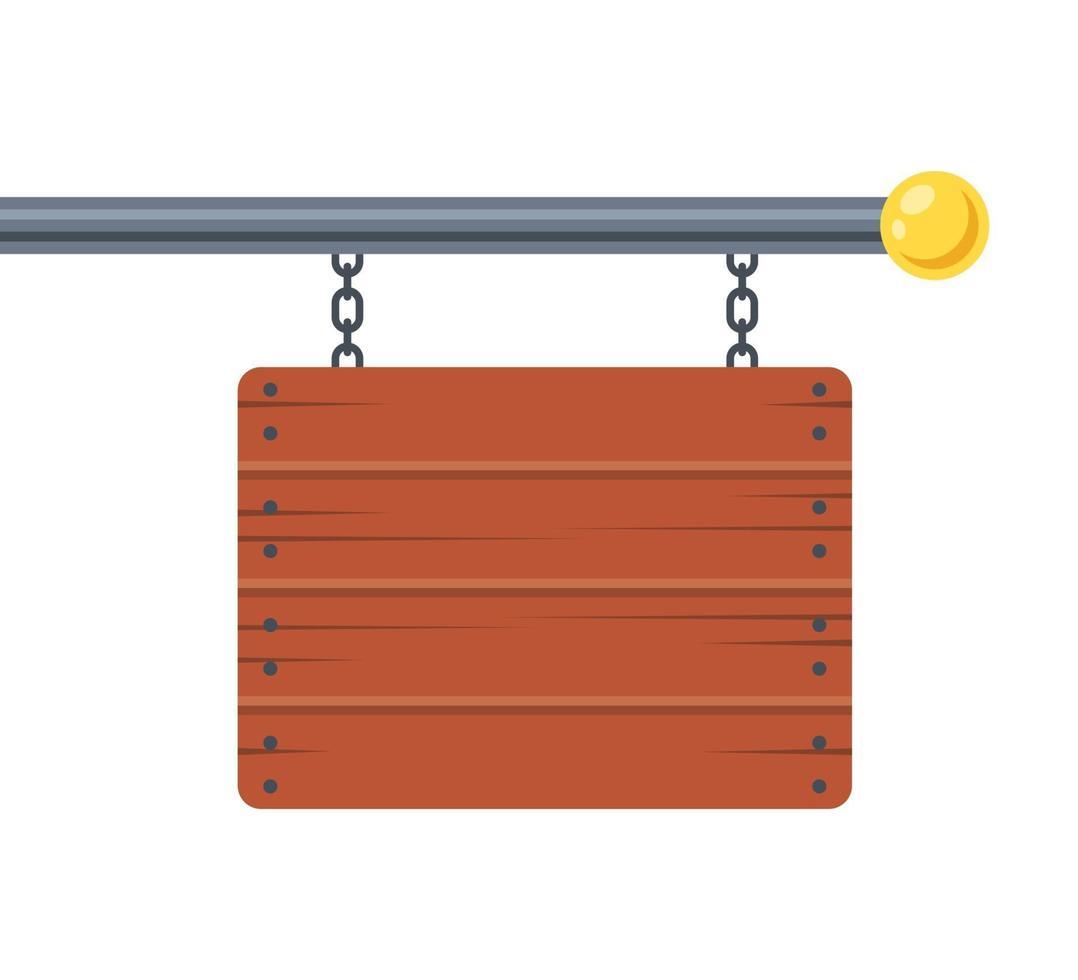 publicidade placa de madeira pendurada em um poste de metal. ilustração vetorial plana. vetor