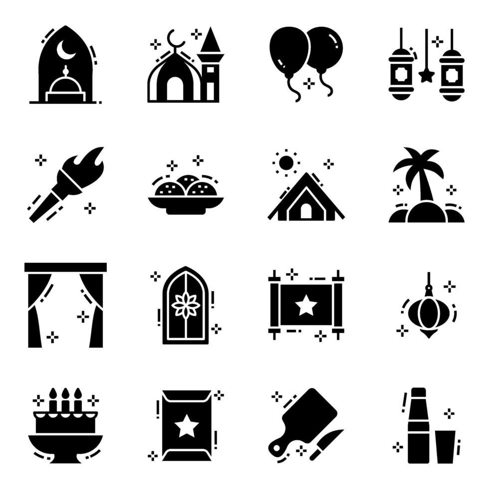 evento muçulmano, celebrações eid vetor