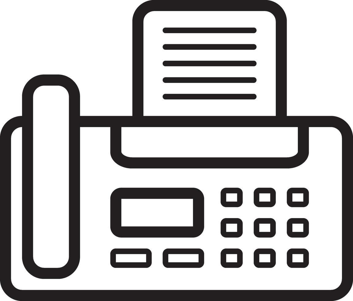 ícone de linha para fax vetor