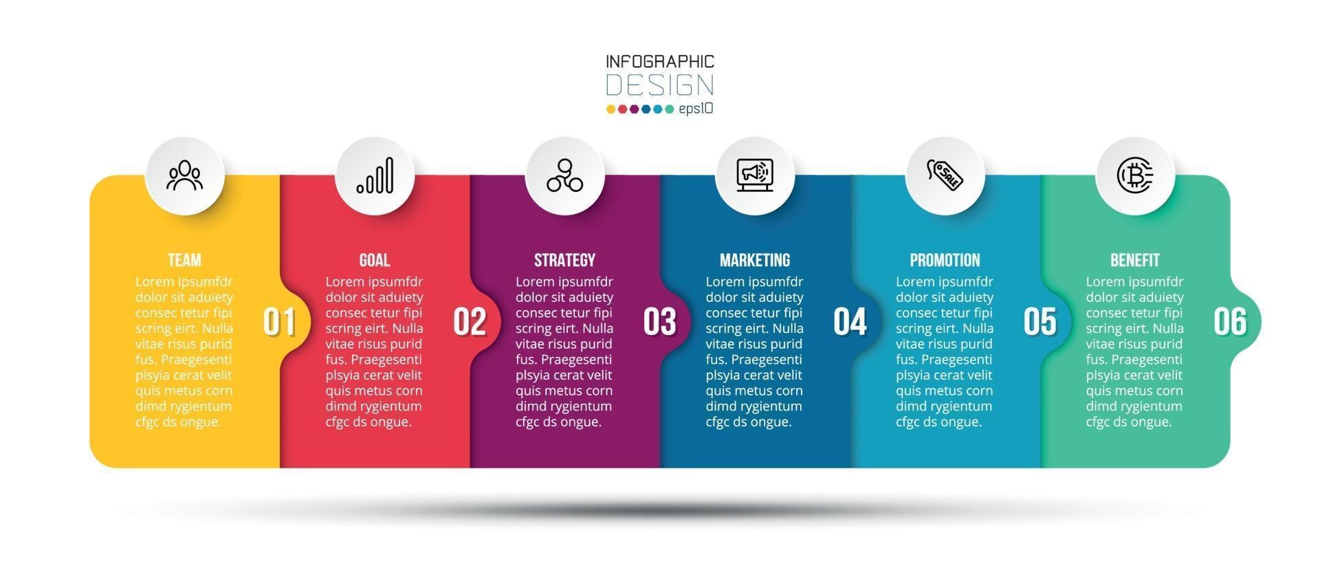 infográfico modelo de negócio com etapa ou opção de design. vetor