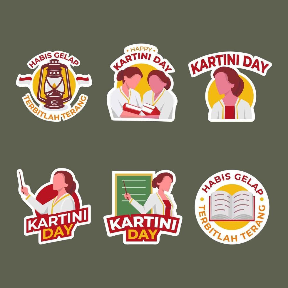 conjunto de adesivo de saudação do dia de kartini vetor