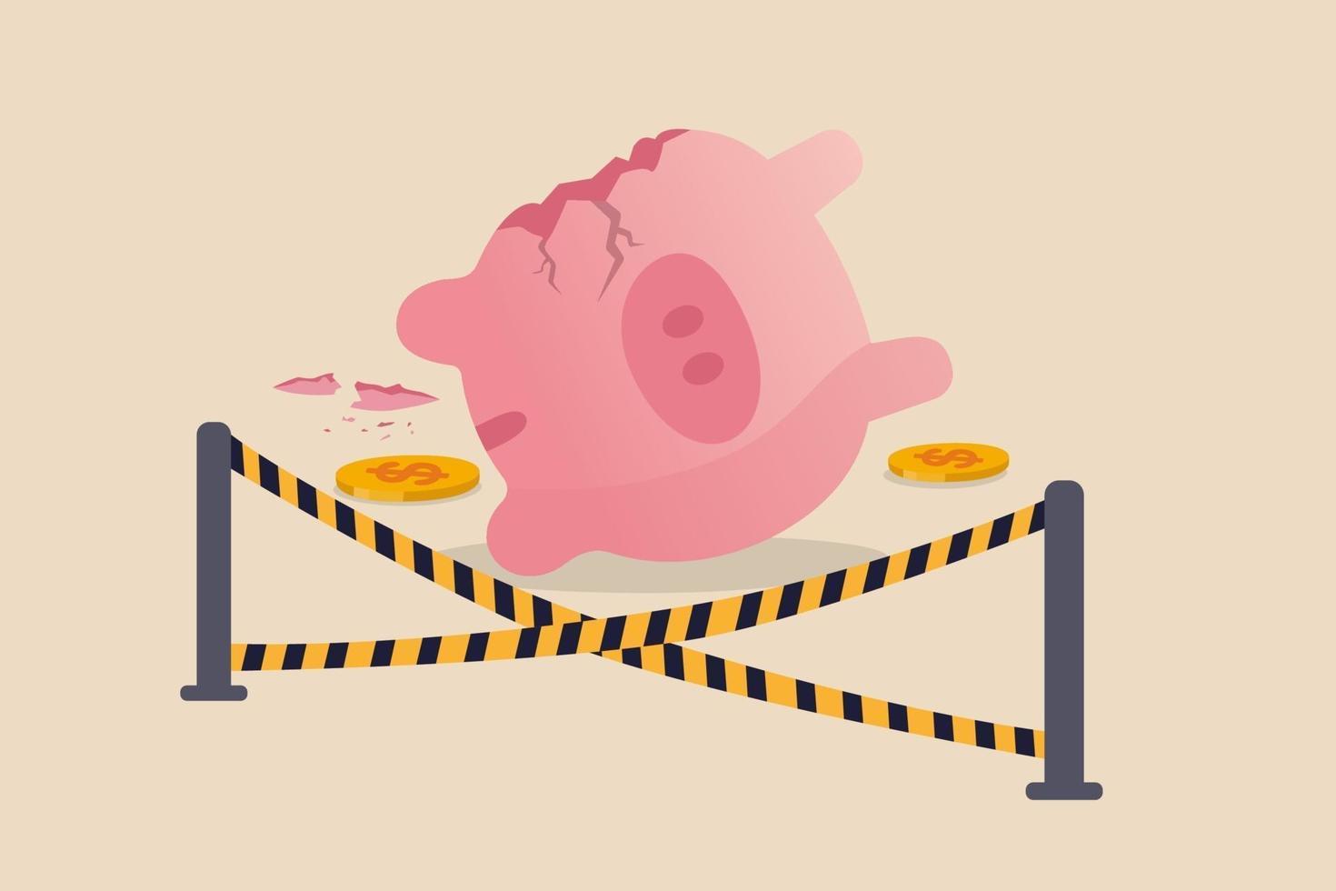 Gastos excessivos erro financeiro, dinheiro perdido em investimento ou quebra do mercado de ações causando falência no conceito de crise econômica, cofrinho rosa quebrado e dinheiro roubado com fita adesiva amarela da cena do crime. vetor