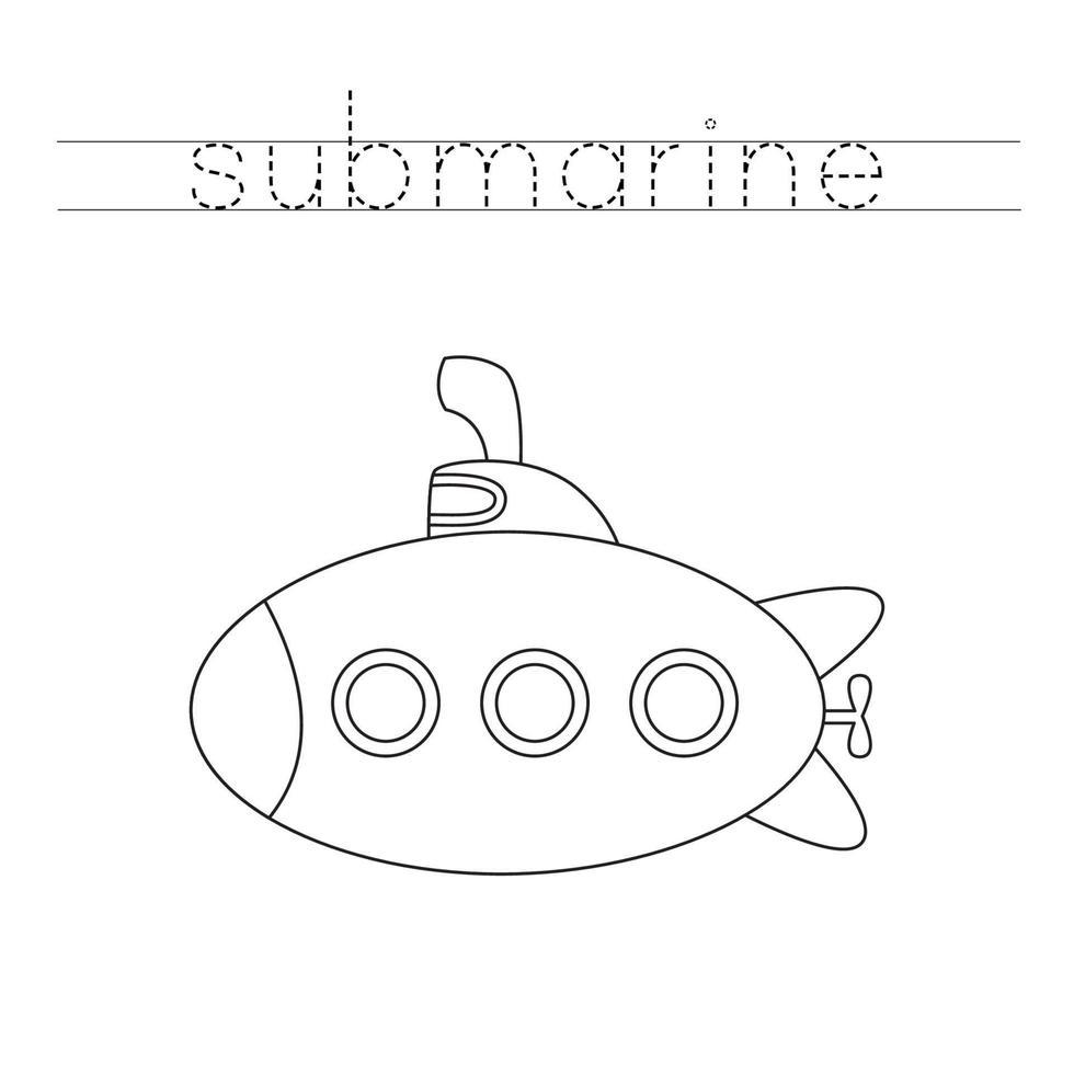 traçando letras com submarino. prática da escrita. vetor