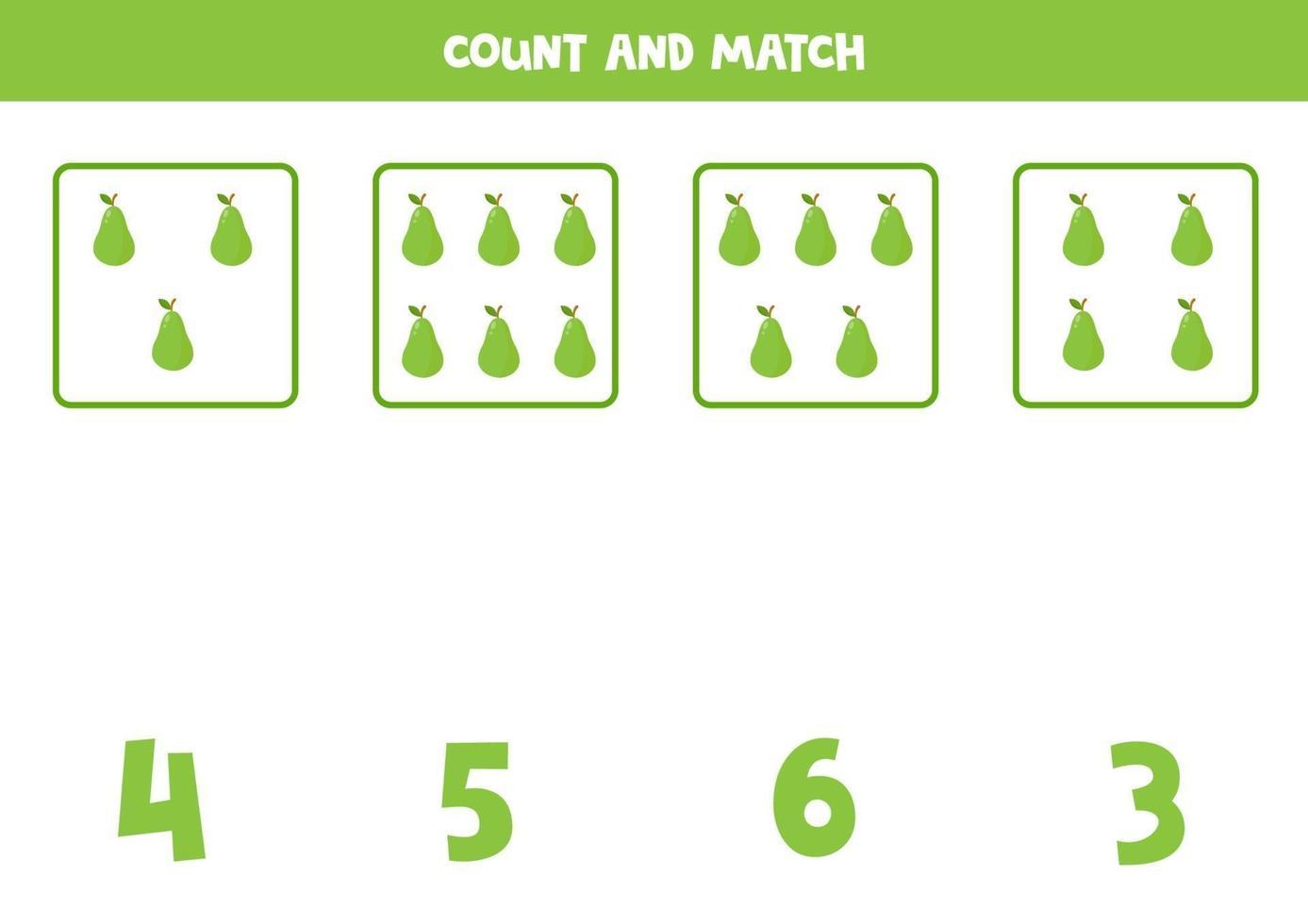 jogo de contagem para crianças. jogo de matemática com peras de desenho animado. vetor
