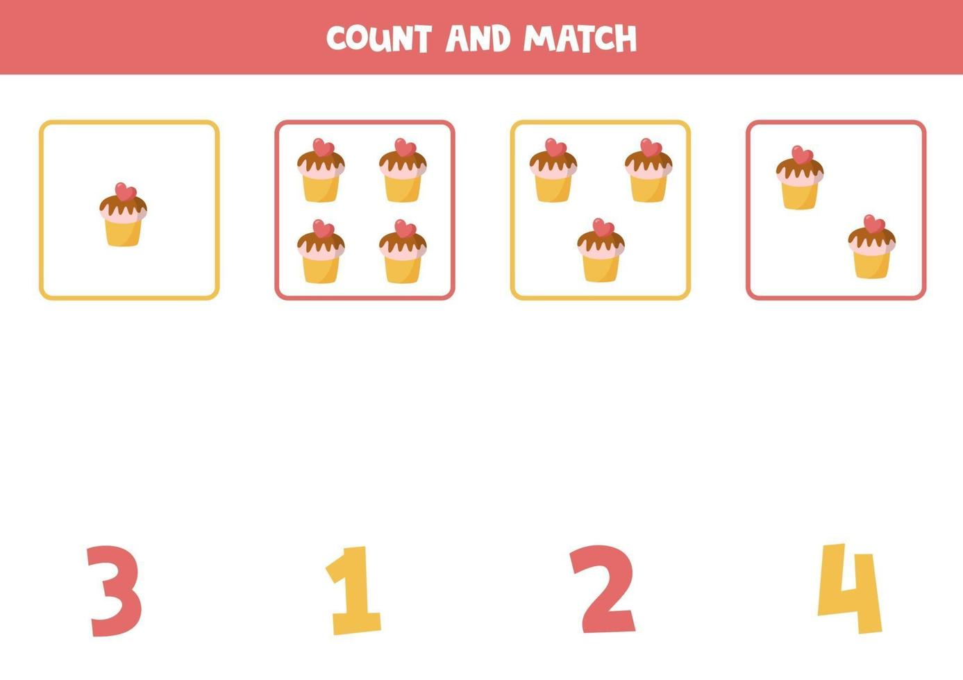 jogo de contagem para crianças. jogo de matemática com cupcakes de desenho animado. vetor
