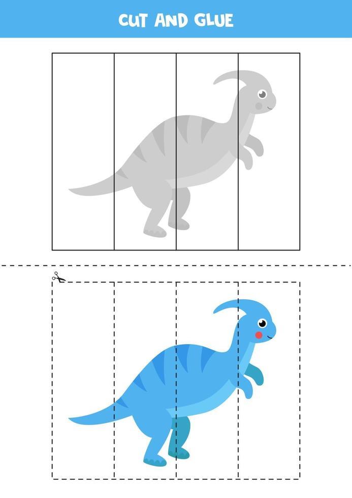 Corte e cole o jogo para crianças. dinossauro bonito dos desenhos animados. vetor