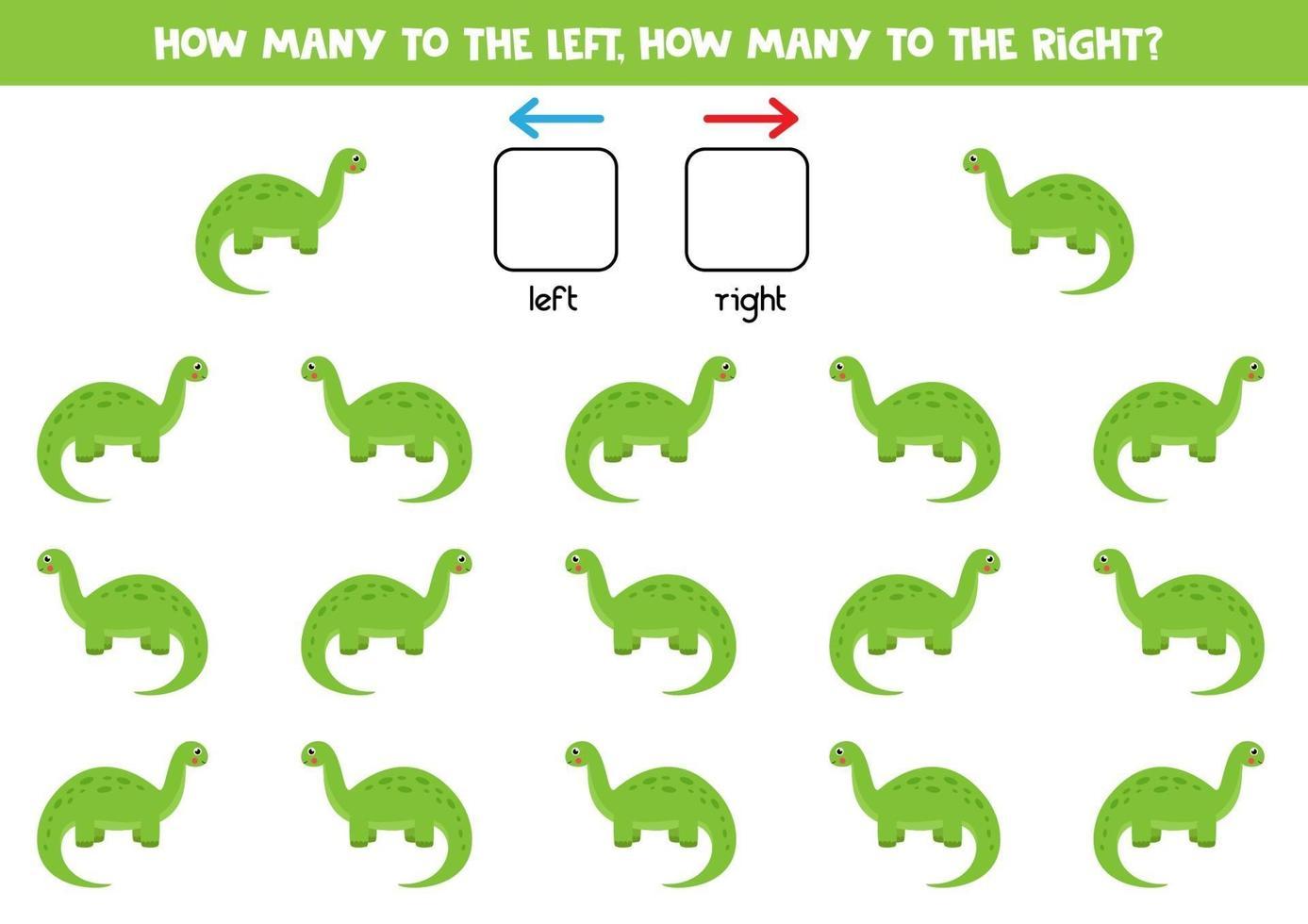 esquerda ou direita com dinossauro bonito. planilha lógica para pré-escolares. vetor