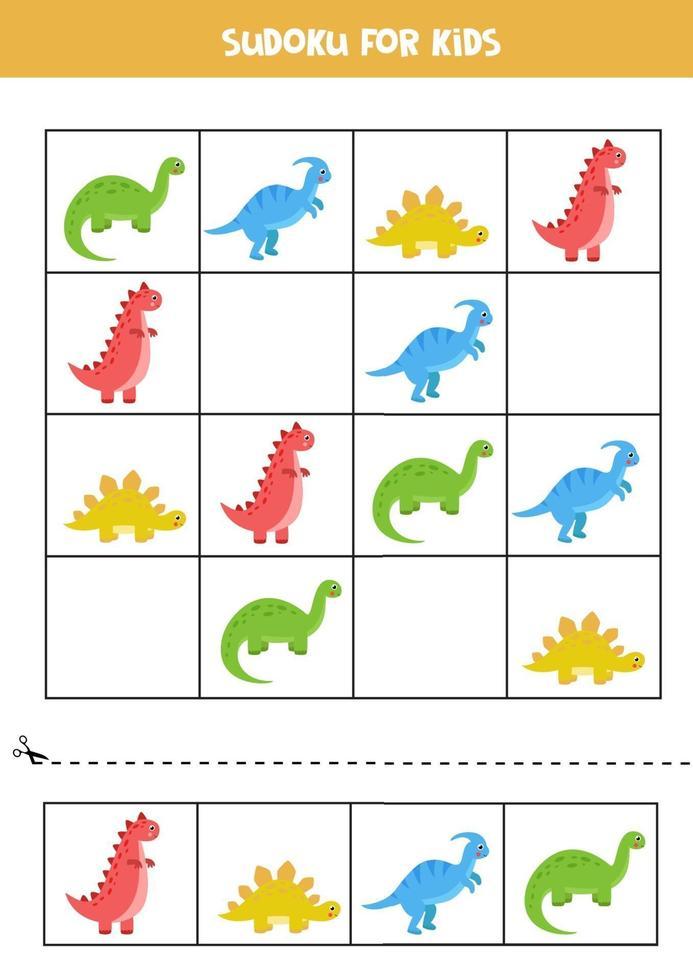 jogo de sudoku educacional com dinossauros bonitos dos desenhos animados. vetor
