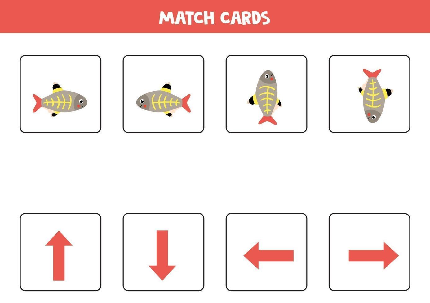 orientação espacial para crianças. esquerda ou direita, para cima ou para baixo com peixes bonitos de raio-x. vetor