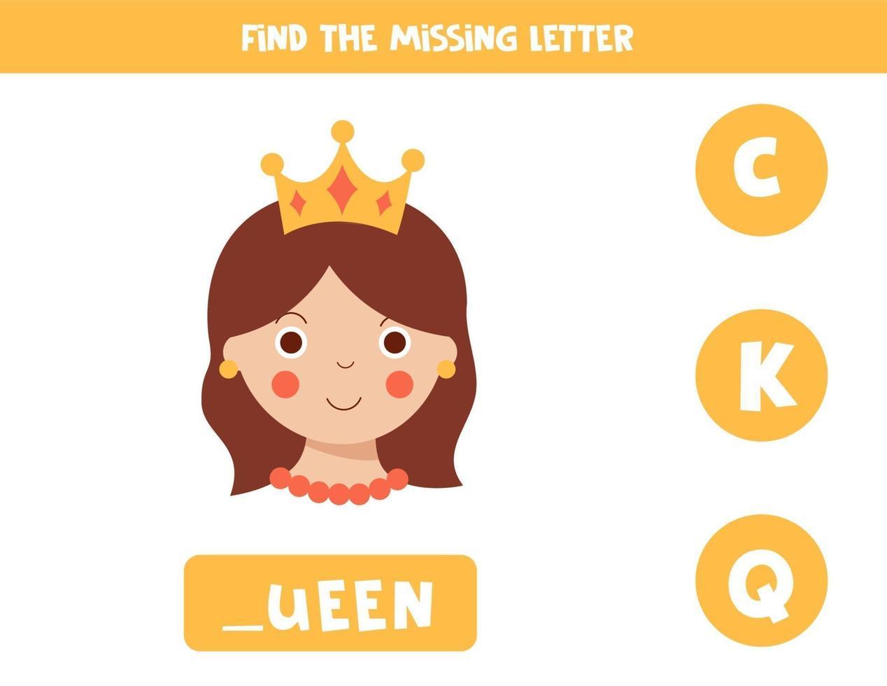 encontrar a letra que falta com a rainha dos desenhos animados bonitos. vetor
