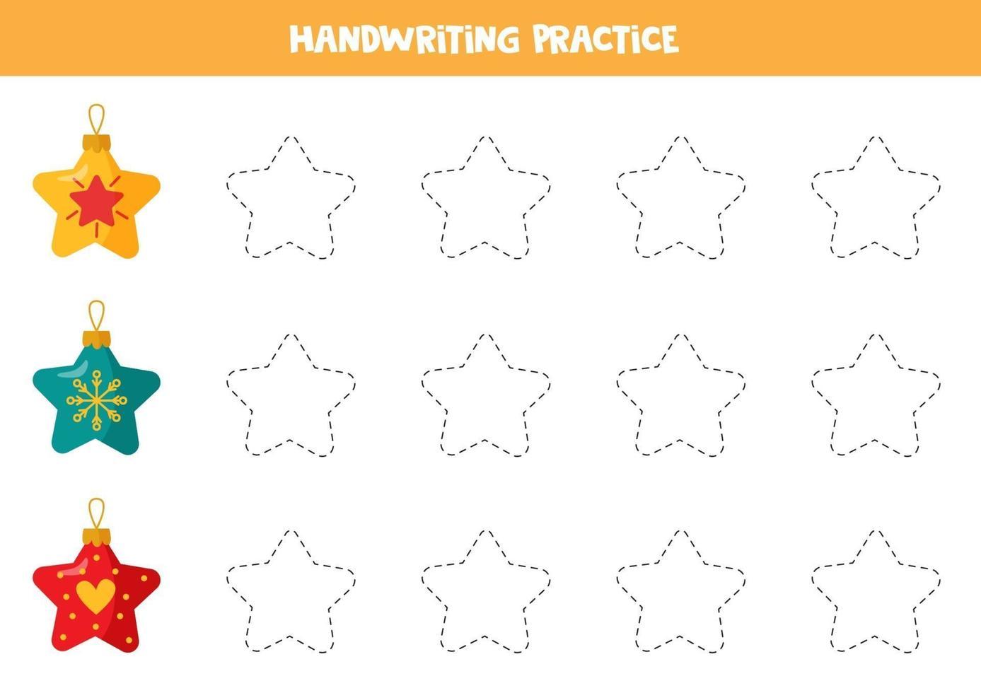 traçando linhas com estrelas de natal. prática de habilidades de escrita. vetor
